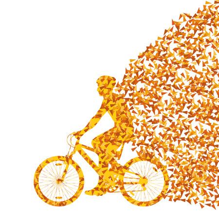 삼각형 조각의 폭발로 만들어진 다채로운 스포츠 도로 자전거 라이더 자전거 실루엣 배경 그림 벡터 개념