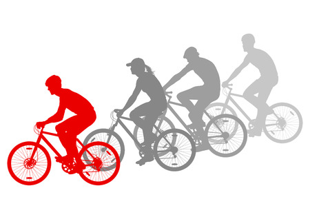 Sport road bike riders bicycle silhouettes vector background winner concept Vector