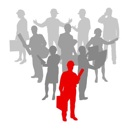 construction management: Sfondo lavoratore donne ingegnere e uomini gente cantiere dettagliata sagome illustrazione vettoriale azienda concetto di squadra