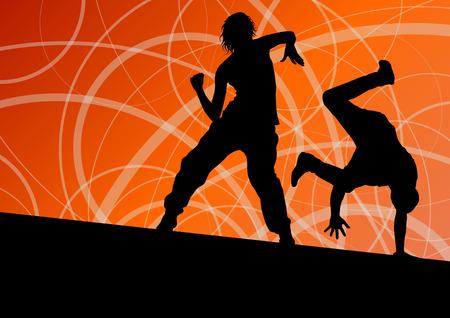 break in: Ruptura hombre y una mujer de la calle Activo bailarines siluetas en l�nea abstracta fondo ilustraci�n vectorial Vectores