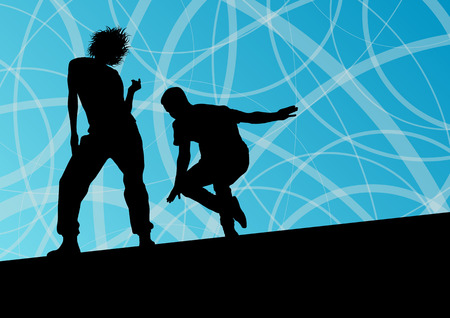 talent show: Active young man and woman street break dancers silhouettes in abstract line background illustration vector Illustration