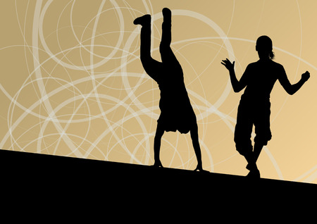 break in: Active young man and woman street break dancers silhouettes in abstract line background illustration vector Illustration