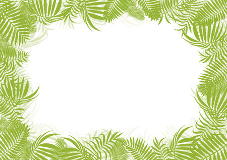 copy center: Tropical jungle rain forest vector background blank frame template concept with copy space center