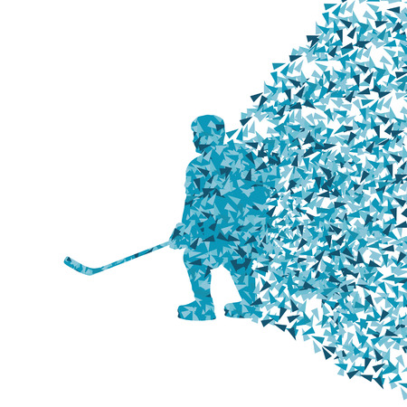 ice hockey player: Ice hockey player silhouette sport abstract vector background concept made of triangular fragments exploasion for poster Illustration