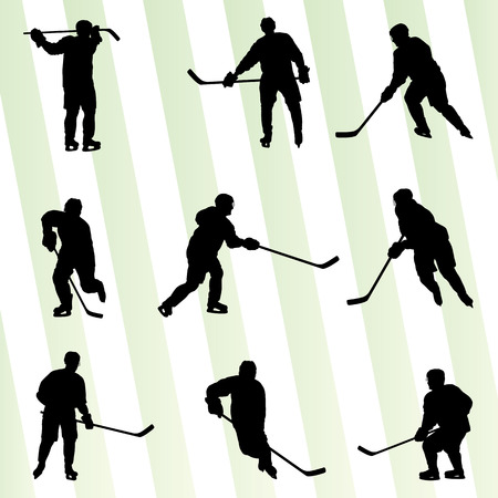 Ice hockey player silhouette sport abstract vector background concept Vector