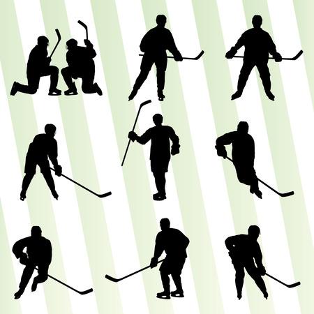 hockey sobre hielo: Deporte silueta jugador de hockey sobre hielo del vector abstracto del concepto del fondo