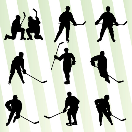 hockey goal: Ice hockey player silhouette sport abstract vector background concept Illustration