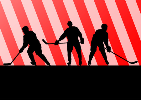 Ice hockey player silhouette sport abstract vector background concept for poster