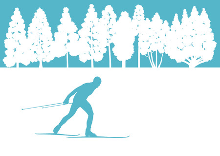 nordic ski: Skier in winter forest vector background abstract concept for poster