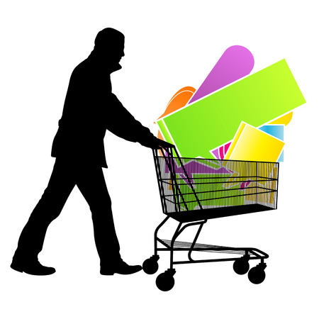 checkout: Shopping cart with speech bubbles sale concept vector background for poster Illustration