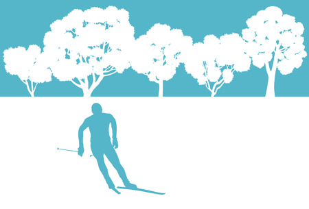 cross country skiing: Skier in winter forest vector background abstract concept for poster