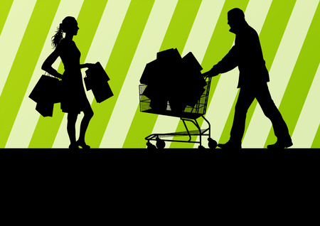 Women with shopping bags and man with shopping cart vector background abstract concept Vector