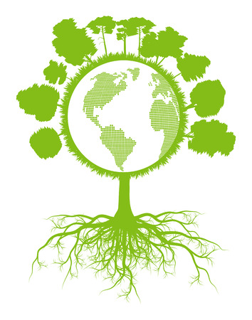 environmental awareness: Tree world globe ecology vector background concept with roots for poster Illustration