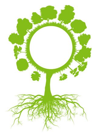 environmentally friendly: Tree world globe ecology vector background concept with roots for poster Illustration