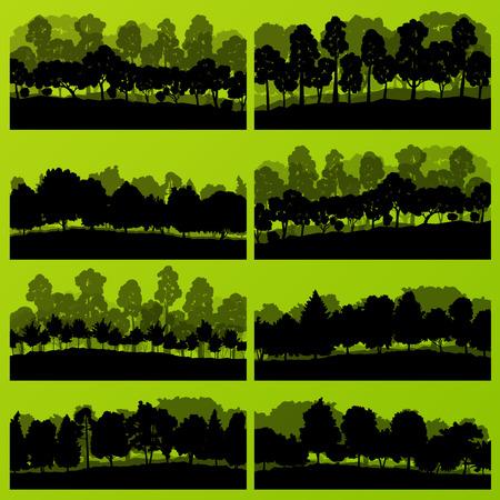 big tree: Forest trees silhouettes natural wild landscape detailed illustration background vector Illustration