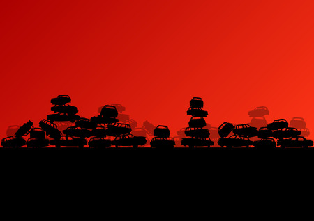 junkyard: Old used automobile cars metal scrapyard graveyard landscape in industrial metal recyclable ecology concept vector background illustration