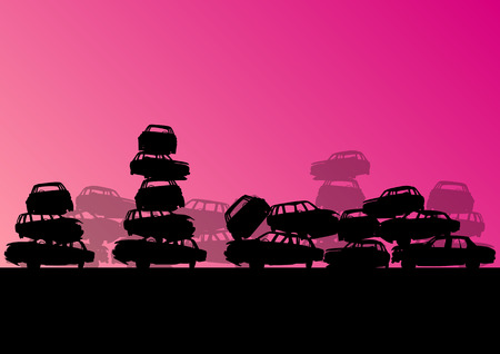 wreckage: Old used automobile cars metal scrapyard graveyard landscape in industrial metal recyclable ecology concept vector background illustration