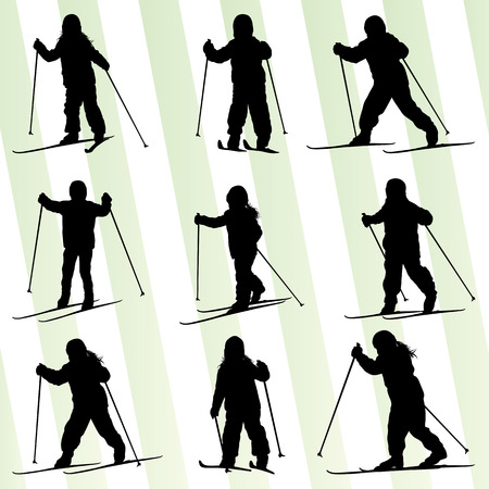 slalom: Active children, kid skiing set sport silhouette vector background concept