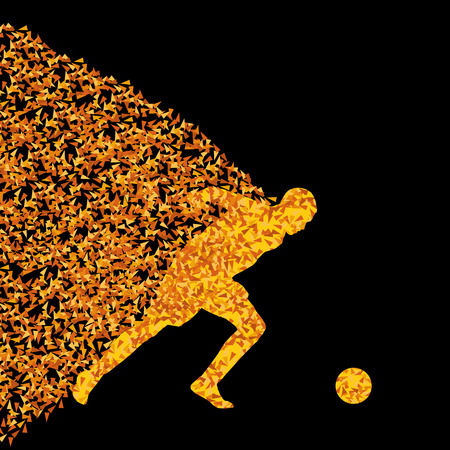 dodge: Soccer player winner vector background concept isolated on black made of triangular fragments explosion for poster