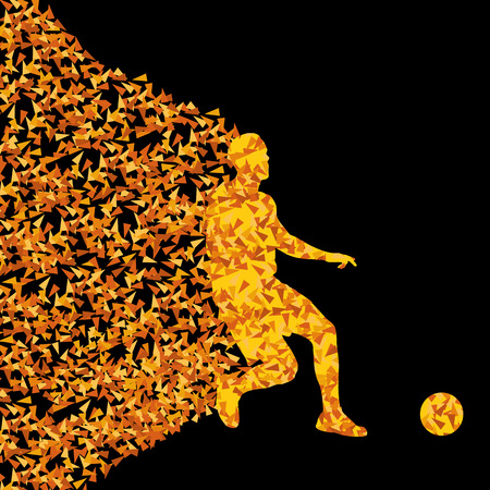 Soccer player winner vector background concept isolated on black made of triangular fragments explosion for poster Vector