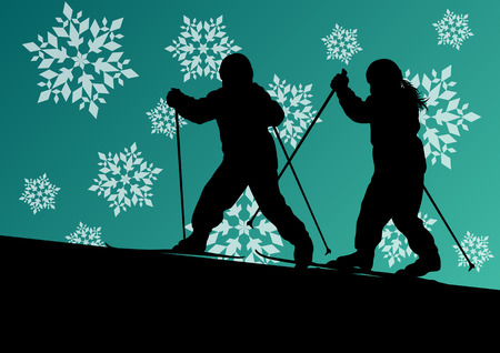 health resort: Active children skiing sport silhouettes in winter ice and snowflake abstract background illustration vector