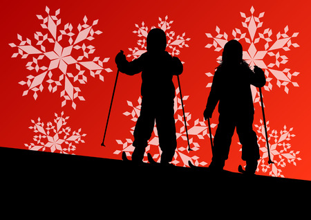 Active children skiing sport silhouettes in winter ice and snowflake abstract background illustration vector Vector
