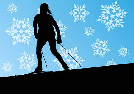 health resort: Active young woman girl skiing sport silhouette in winter ice and snowflake abstract background illustration vector for poster