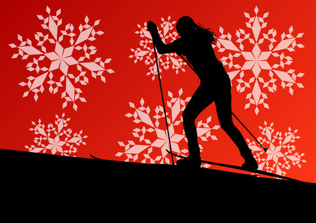 Active young woman girl skiing sport silhouette in winter ice and snowflake abstract background illustration vector for poster Vector