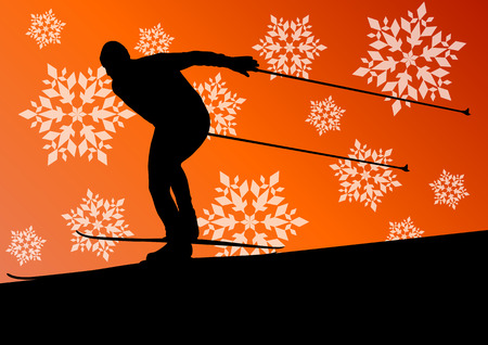 Active young man skiing sport silhouette in winter ice and snowflake abstract background illustration vector for poster Vector