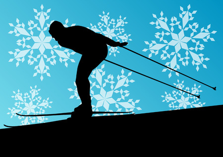 health resort: Active young man skiing sport silhouette in winter ice and snowflake abstract background illustration vector for poster