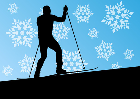 winter vacation: Active young man skiing sport silhouette in winter ice and snowflake abstract background illustration vector for poster