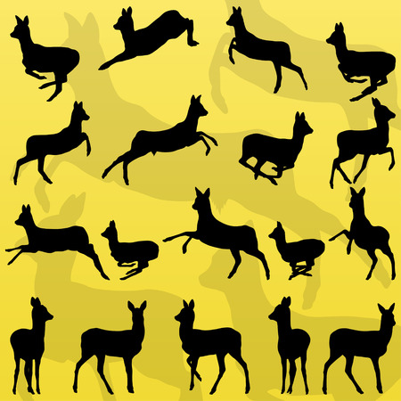 doe: Doe venison deer wild forest animals silhouettes illustration collection background vector