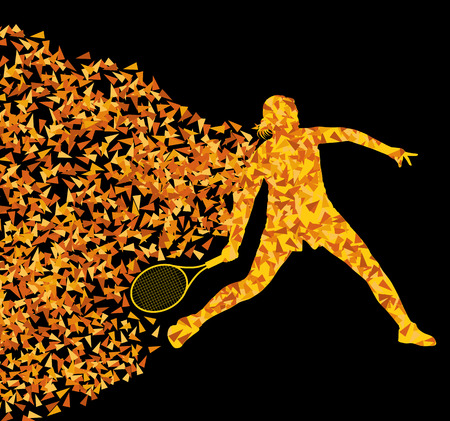 Tennis players active sports silhouette background illustration vector concept made of triangular fragments explosion for poster Illustration