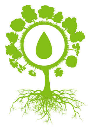 Ecology environmental green tree with roots and water drop symbol vector background concept Vector