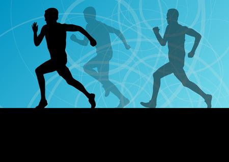 jogging track: Active men runner sport athletics running silhouettes illustration background vector