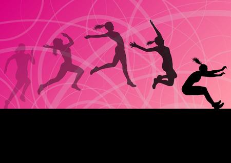 salto de longitud: Mujer chica de triple salto de longitud volar deporte activo fondo siluetas atléticas colección ilustración vectorial