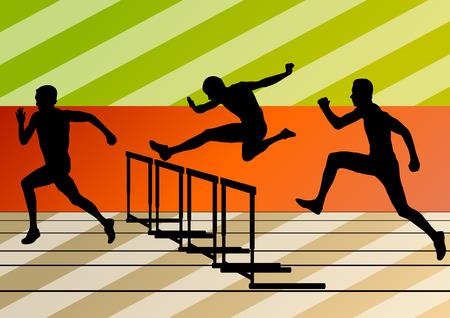 hurdling: Active men sport athletics hurdles barrier running silhouettes illustration collection background vector Illustration