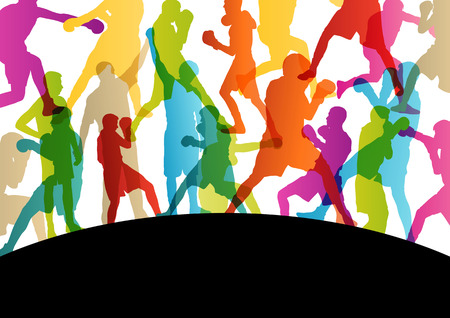 Boxing active young men box sport silhouettes vector abstract background illustration Illustration