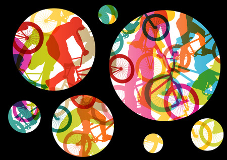 Extreme cyclists bicycle riders active children sport silhouettes vector abstract background illustration Vector