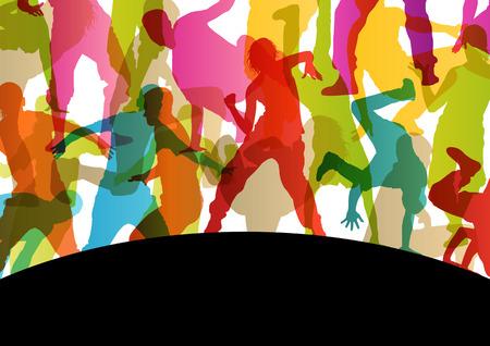 Actieve jonge mannen en vrouwen op straat break dansers silhouetten in abstracte achtergrond illustratie vector