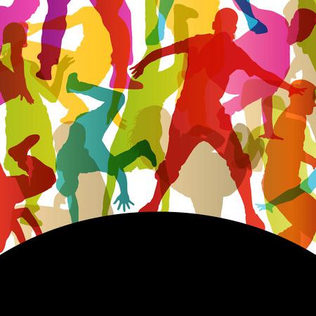 Actieve jonge mannen en vrouwen op straat breakdancers silhouetten op abstracte achtergrond illustratie vector Stock Illustratie