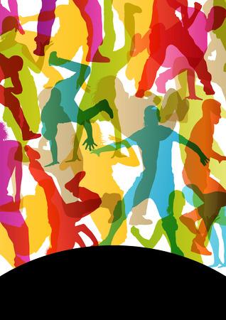 break in: Activo hombres y mujeres j�venes descanso calle bailarines siluetas de fondo abstracto ilustraci�n vectorial Vectores