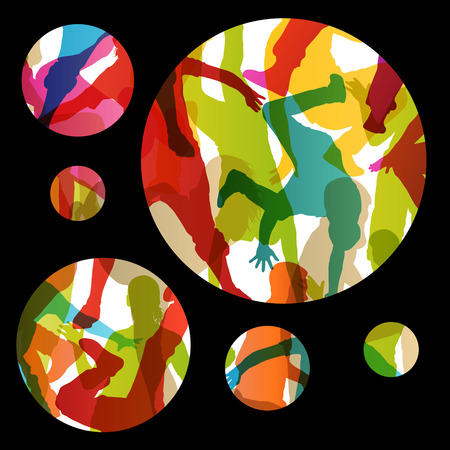 break in: Active young men and women street break dancers silhouettes in abstract background illustration vector
