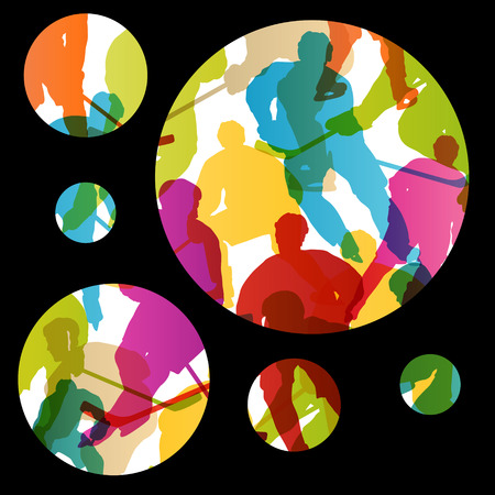 sport equipment: Active young men ice hockey sport silhouettes skating in winter sports abstract background illustration vector
