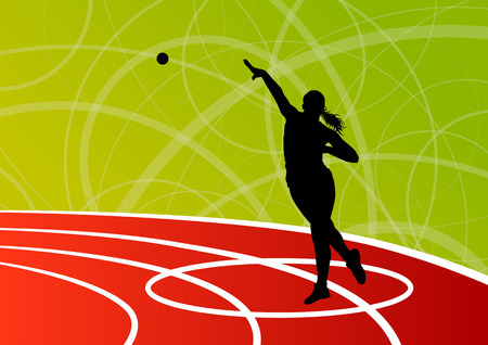 putter: Active shot putter woman sport athletics ball throwing silhouettes abstract illustration background vector