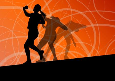 lanzamiento de bala: Siluetas tiro Mujer activa putter atletismo deporte de pelota que lanza fondo abstracto ilustración vectorial