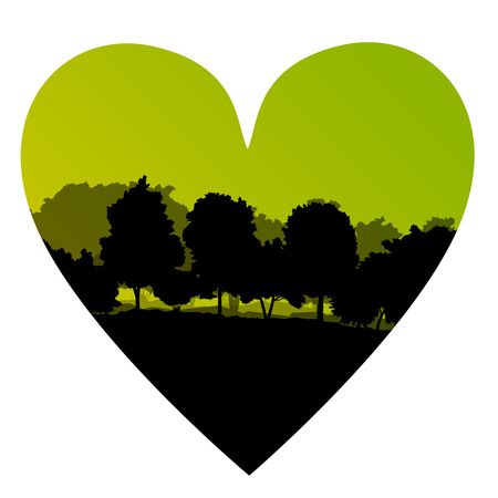 Forest tree wild romantic love heart shape concept landscape background illustration vector Vector