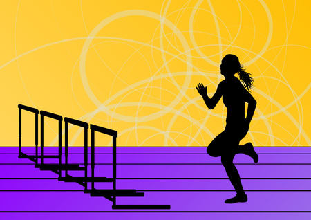 girl sport: Donne attive ragazza sportiva di atletica ostacoli barriera esecuzione sagome sfondo illustrazione vettoriale