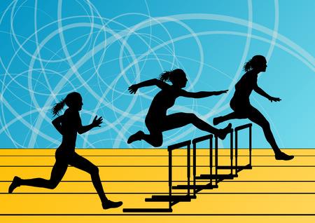 tough girl: Active women girl sport athletics hurdles barrier running silhouettes illustration background vector