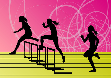Active women girl sport athletics hurdles barrier running silhouettes illustration background vector Vector